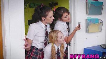Teacher bound and licked by schoolgirls
